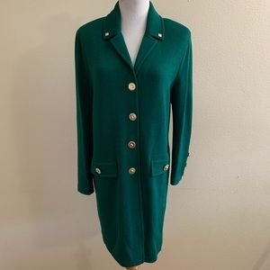 St. John Collection Jacket Green Knit Gold Buttons